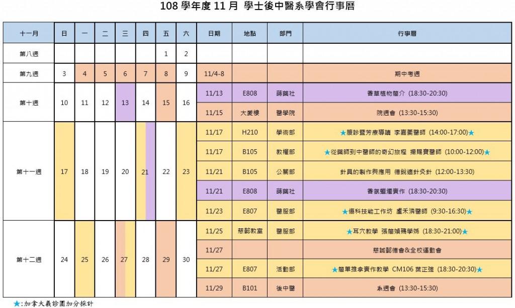 108年11月 後中醫系上行事曆